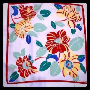 Jones New York bright floral silk scarf